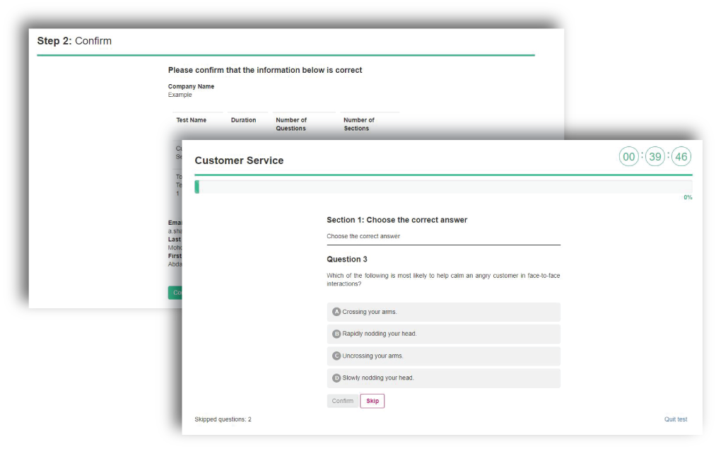 Customer service test screenshot